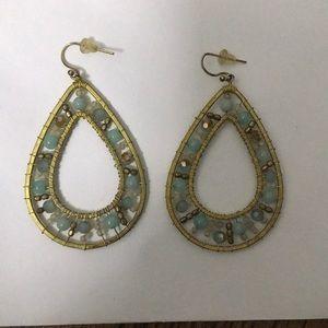 Hand beaded blue turquoise earrings gold